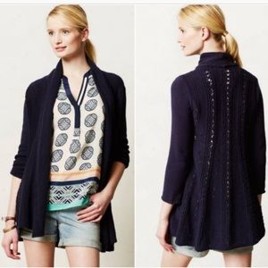 Anthro Angel of the North Blue Crochet Cardi S